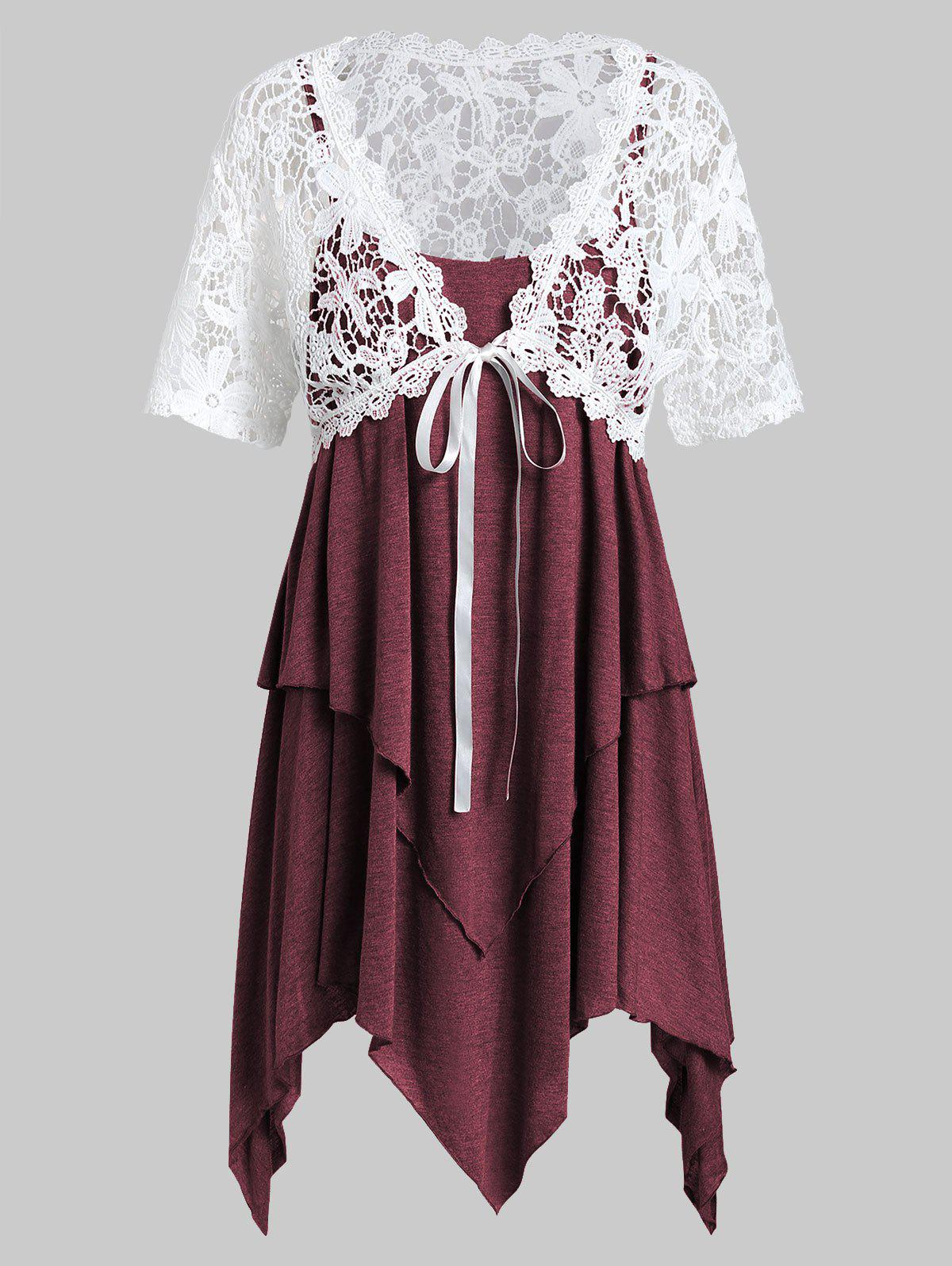 Plus Size Lace Top With Layered Handkerchief Cami Top - RED WINE 2X