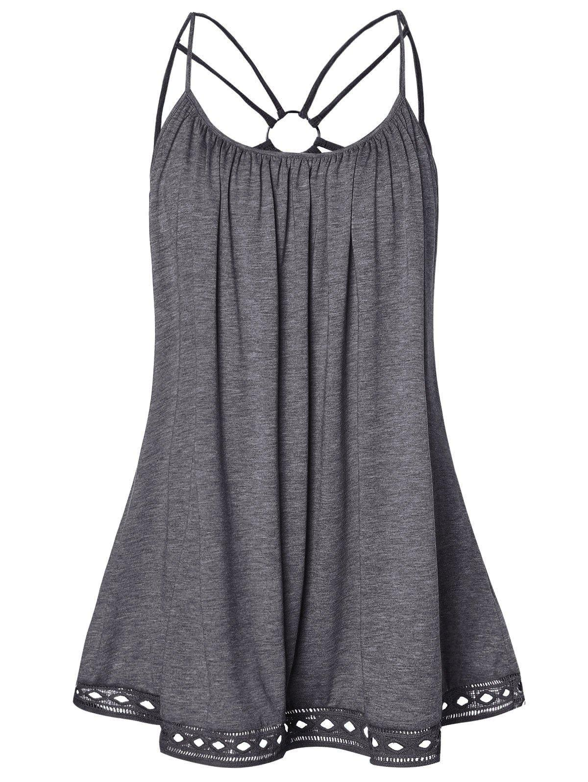 Plus Size O Ring Strappy Tank Top - DARK GRAY 1X