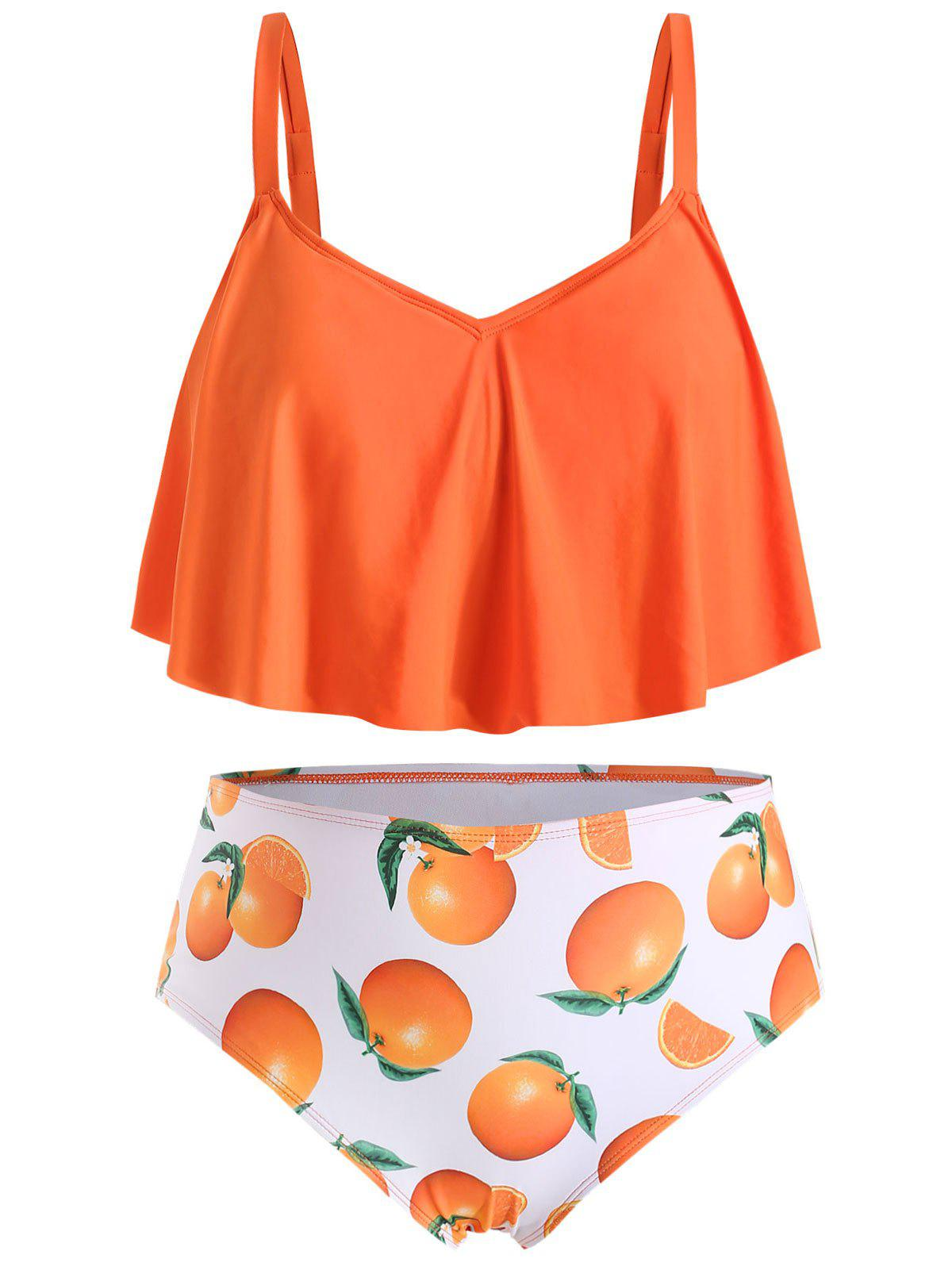 Plus Size Ruffled Orange Print Tankini Set