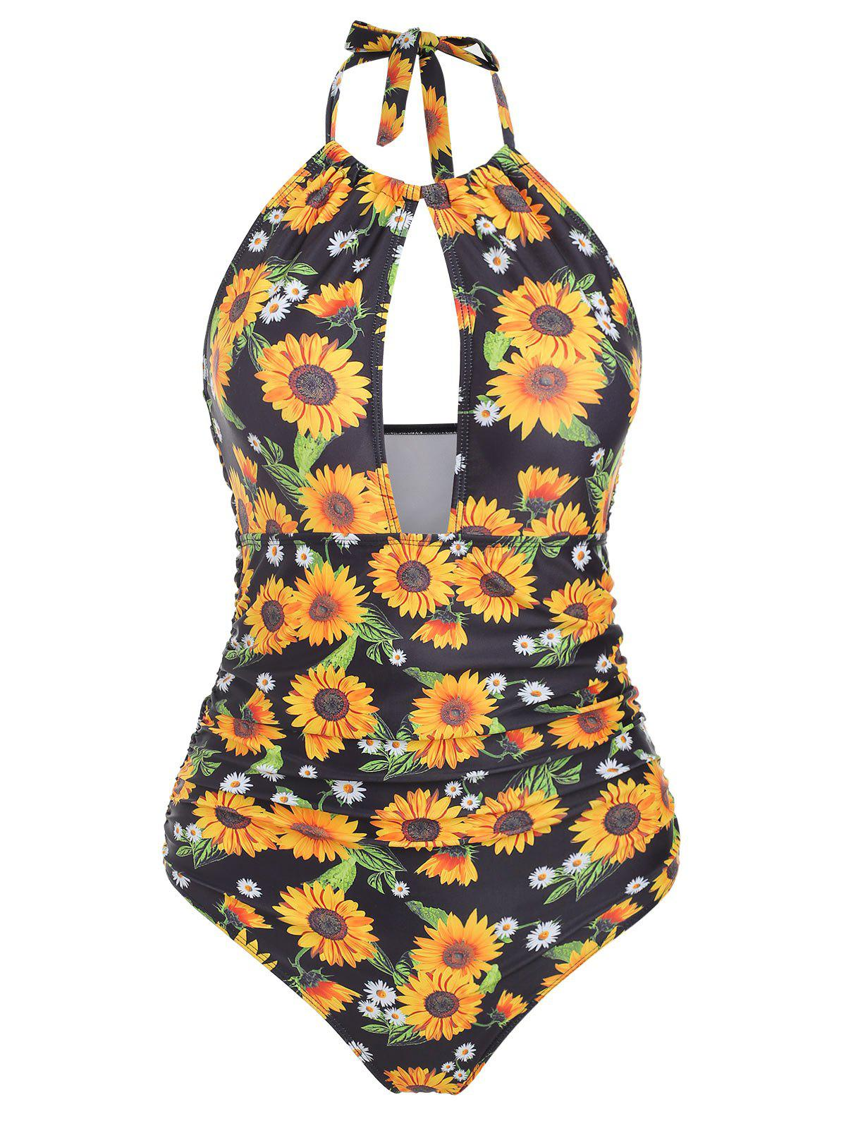 Cut Out Sunflower Halter Swimsuit - YELLOW M