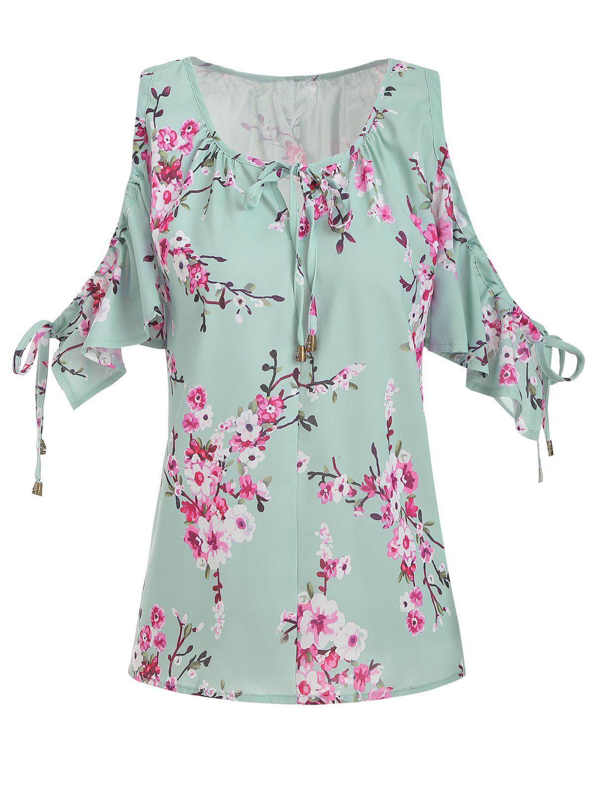 Floral Tied Open Shoulder Plus Size Blouse - GREEN 2X