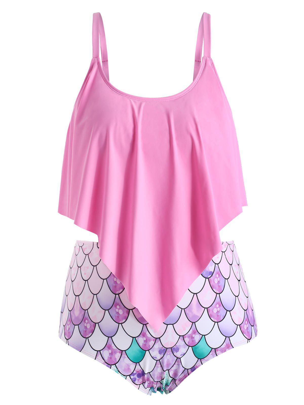 Plus Size Ruffle Fish Scale Print Tankini Swimsuit - HOT PINK 1X