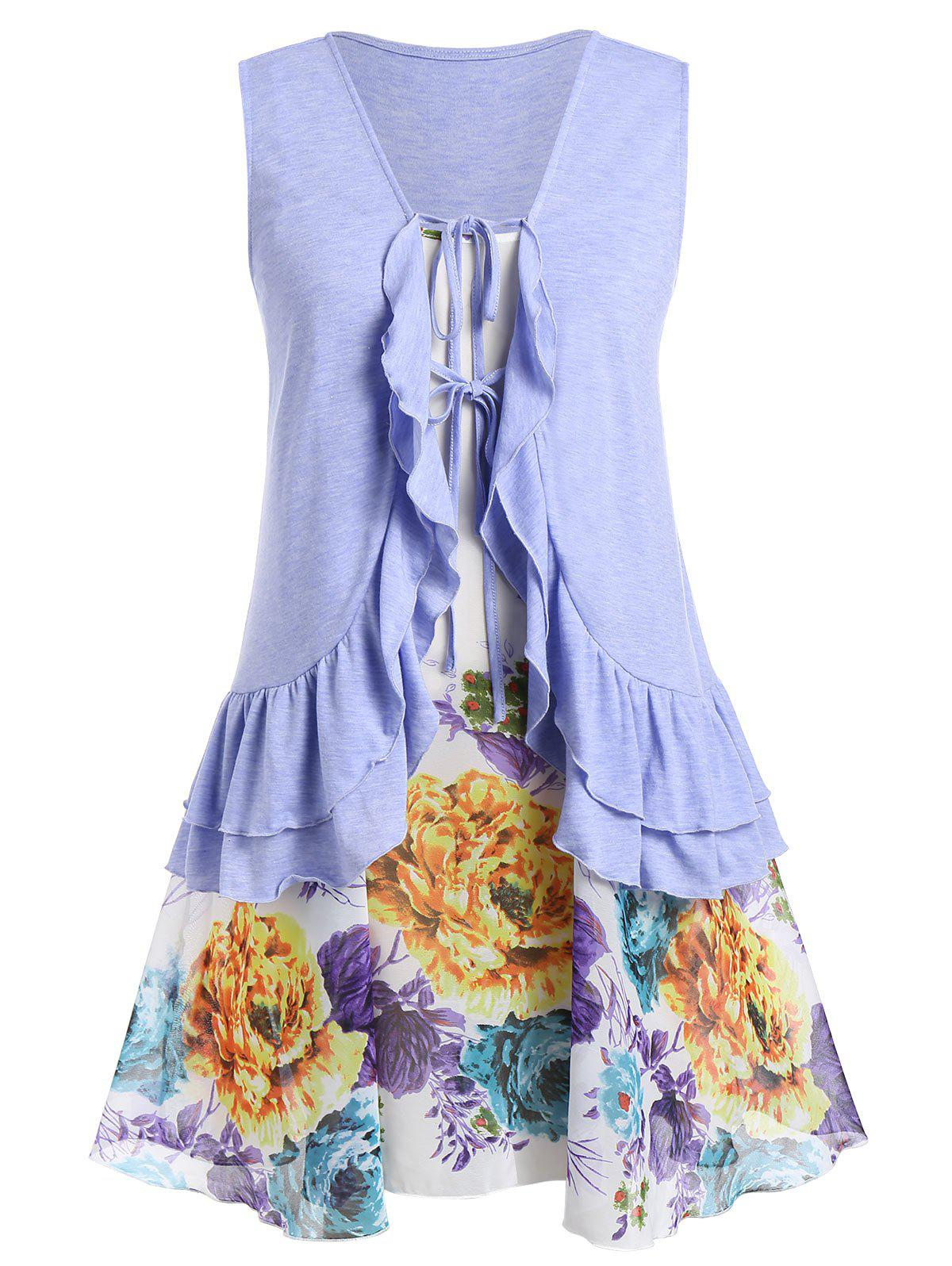Plus Size Flounced Tank Top With Floral Print Cami - PURPLE MIMOSA 2X