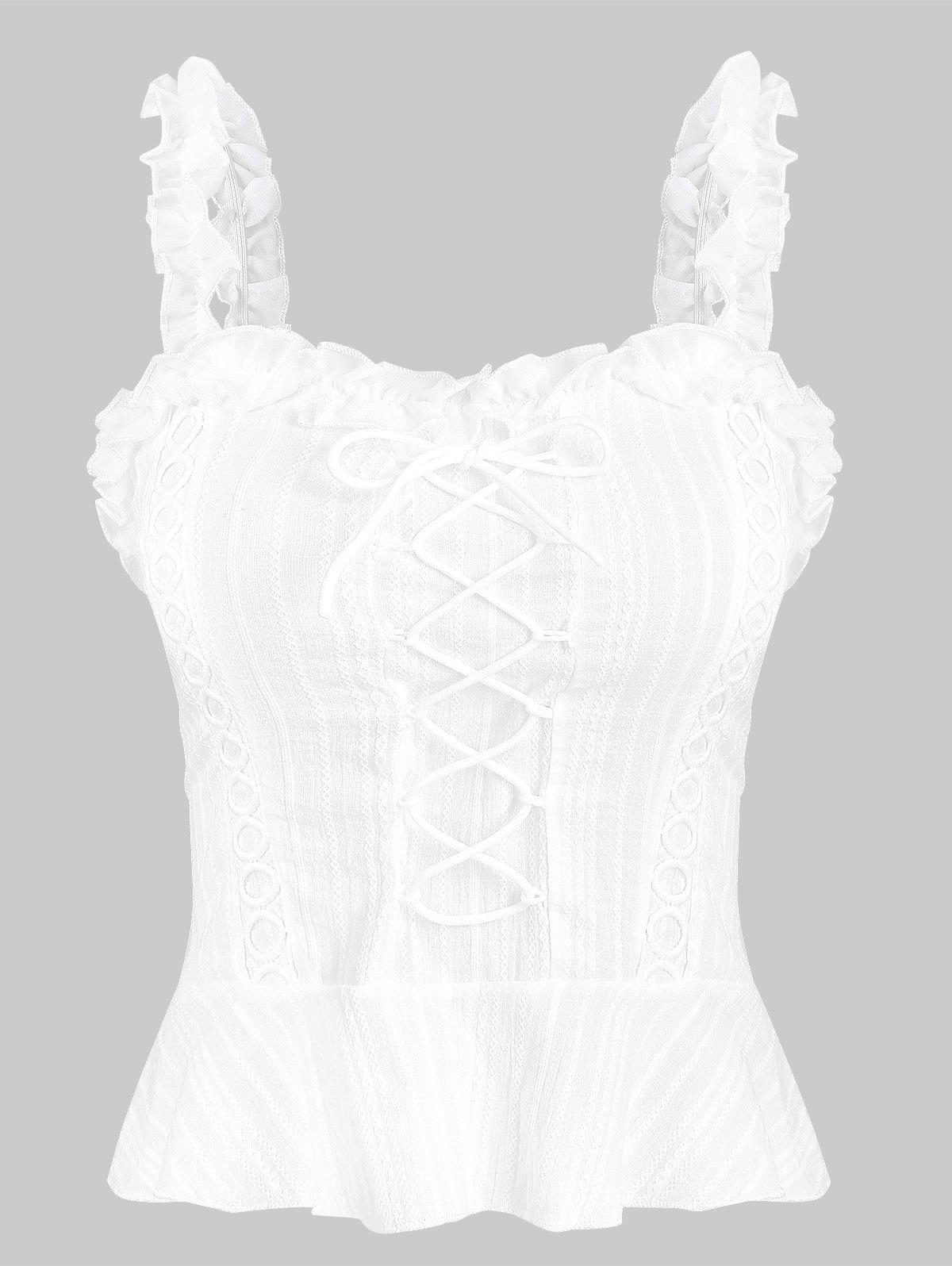 Flounce Lace Up Smocked Tank Top - WHITE L