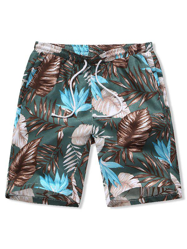 Leaves Print Board Shorts - multicolor B S