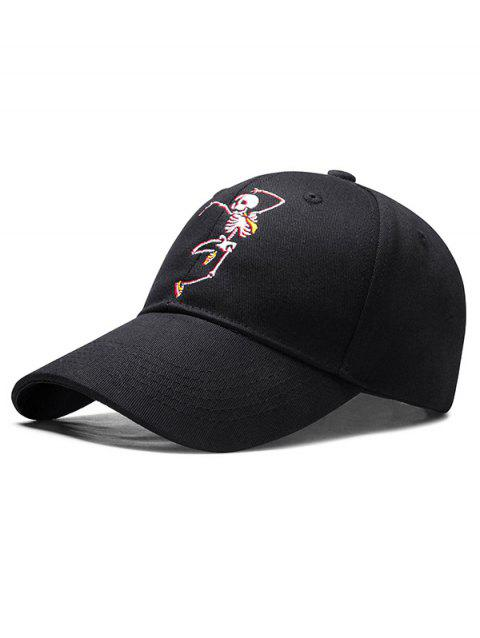 Embroidered Skeleton Man Baseball Cap - BLACK