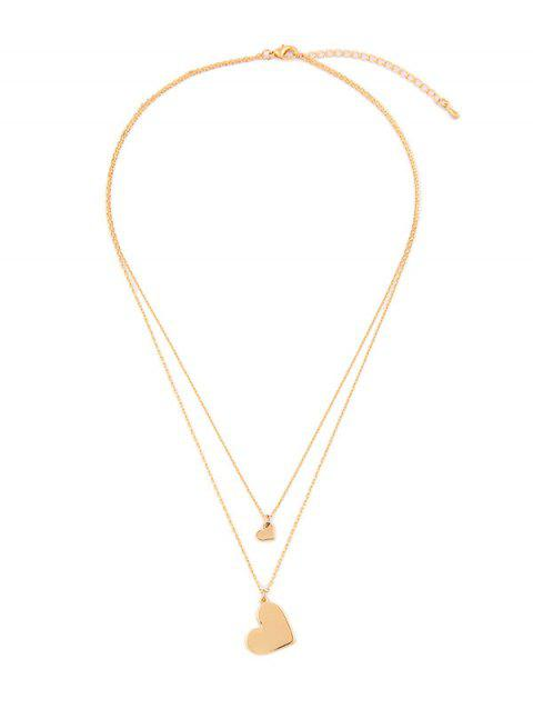 Double Layer Heart Pendant Necklace - GOLD