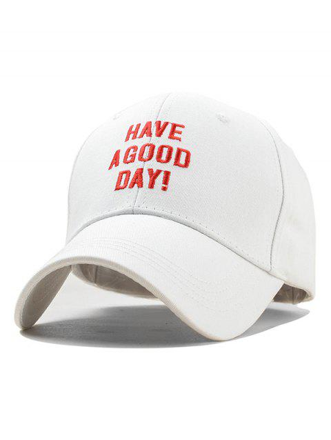 Embroidery Have A Good Day Baseball Cap - WHITE