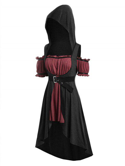 Plus Size Hooded Faux Twinset High Low Punk T-shirt - NIGHT 1X