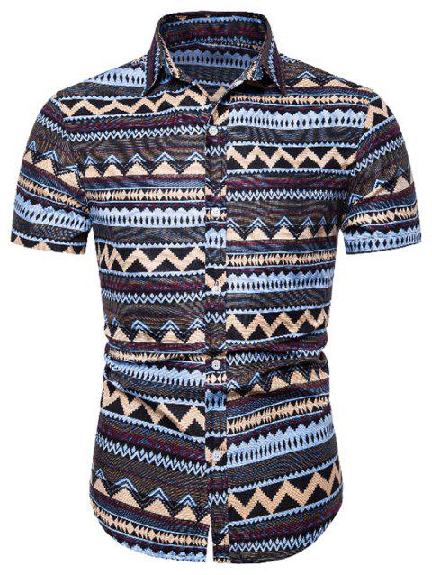 Ethnic Zigzag Print Button Up Shirt - COFFEE XL