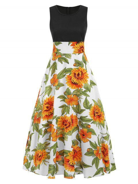 Sunflower Print Maxi Dress - multicolor L