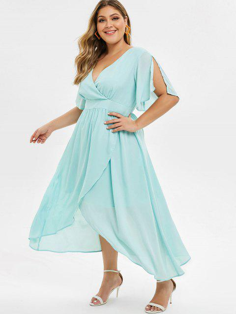 Plus Size Surplice Long Split Sleeve Dress