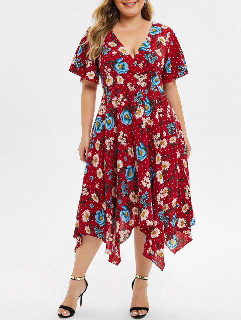 Plus Size Floral Handkerchief Midi Dress - RED WINE 4X