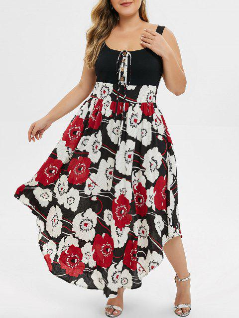 Plus Size Floral Print High Waist Maxi Dress - BLACK 5X
