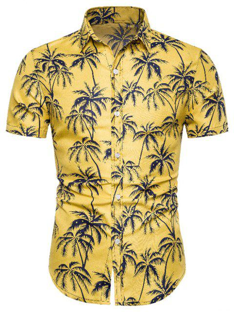 Coconut Tree Print Button Up Shirt - YELLOW M