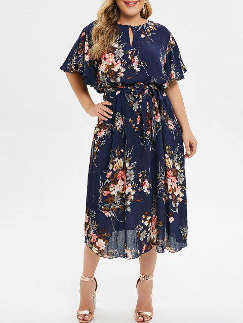 Plus Size Floral Print Bell Sleeve Midi Dress - CADETBLUE 4X