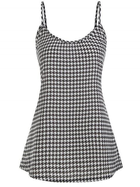 Houndstooth Plus Size Cami Top - BLACK 2X
