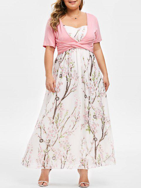 Plus Size Floral Print Maxi Dress With Front Cross Top - PIG PINK L