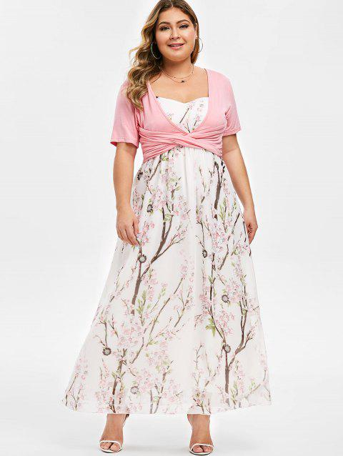Plus Size Floral Print Maxi Dress With Front Cross Top