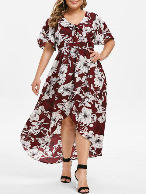Plus Size Bow Tie High Low Floral Dress - RED WINE 5X