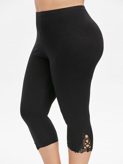Plus Size High Rise Lace Trim Capri Leggings - BLACK 1X