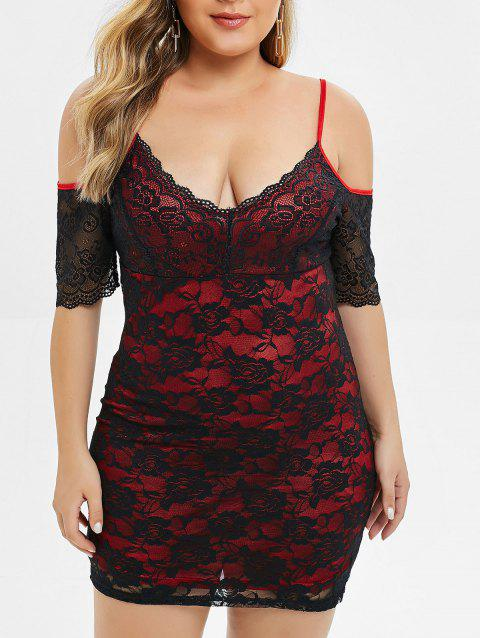 Plus Size Spaghetti Strap Cold Shoulder Lace Dress