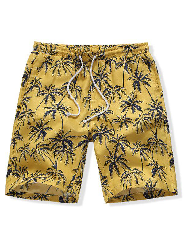 Hawaii Coconut Tree Print Board Shorts - YELLOW M