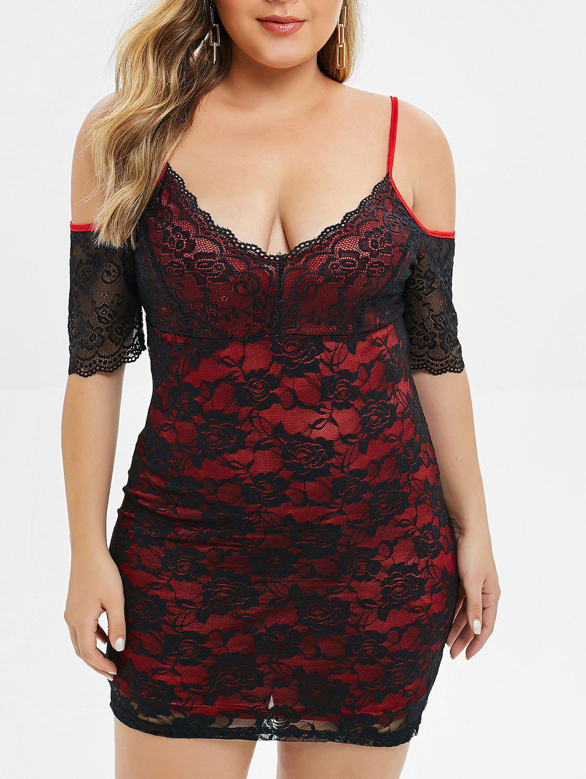 Plus Size Spaghetti Strap Cold Shoulder Lace Dress - RED WINE 2X