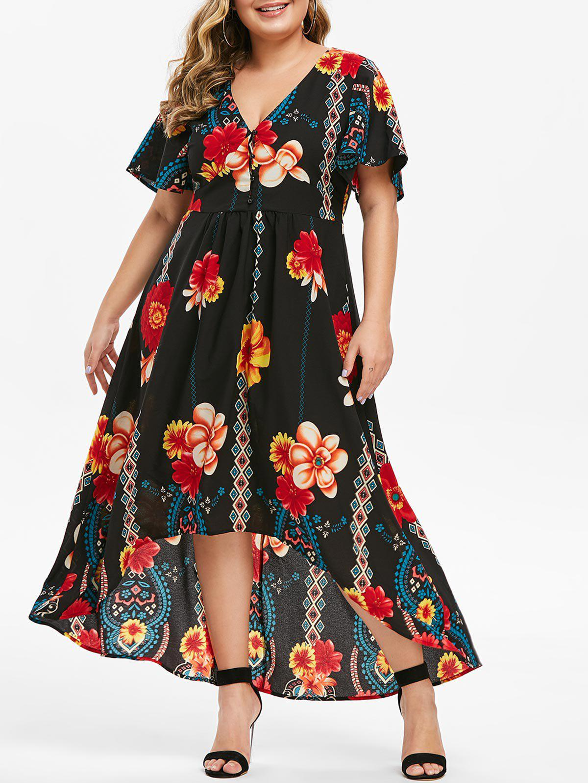 Plus Size Floral Print Low Cut Maxi Dress - JET BLACK 5X