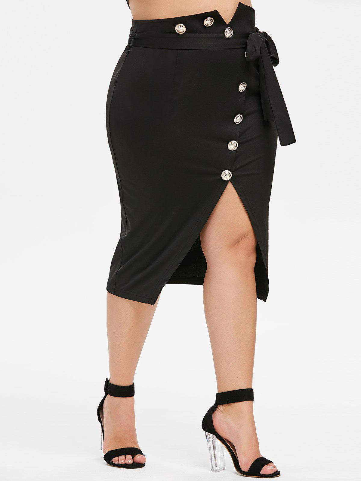 Plus Size High Waist Buttons Pencil Skirt - BLACK 3X