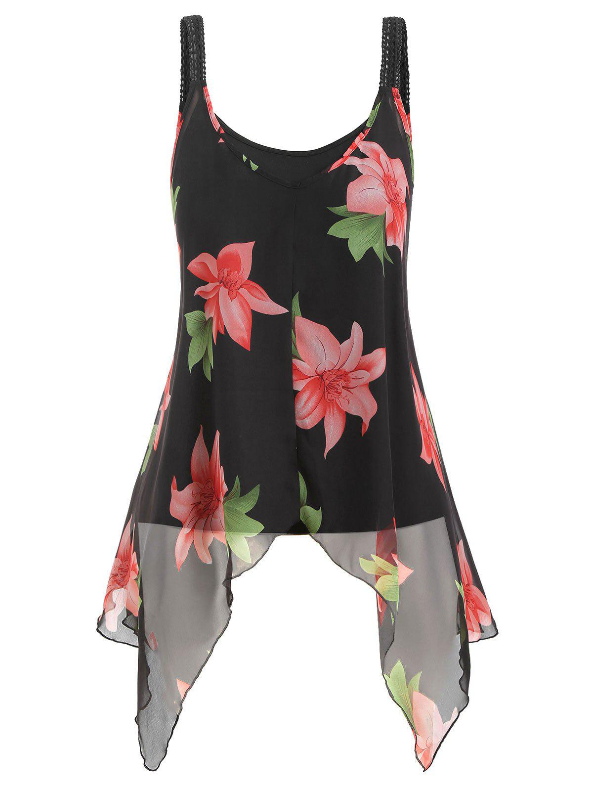 Plus Size Camisole and Floral Chiffon Tank Top - BLACK 2X