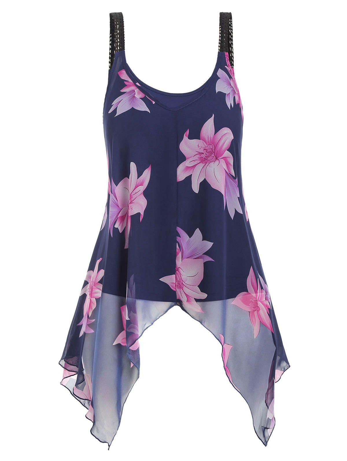 Plus Size Camisole and Floral Chiffon Tank Top - MIDNIGHT BLUE 2X