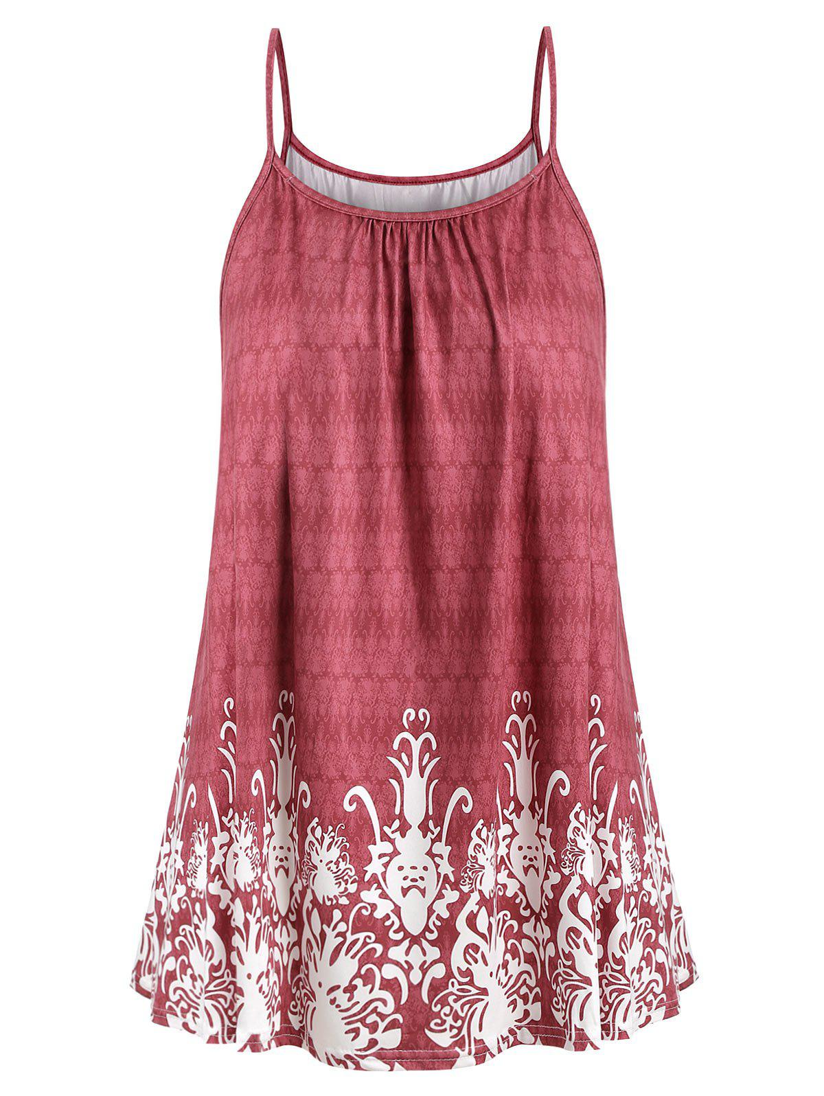 Printed Plus Size Cami Top - RED WINE 5X