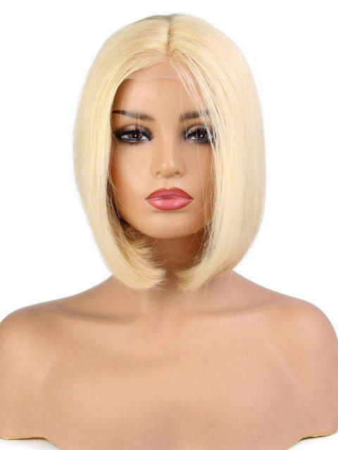 Center Part Medium Solid Straight Human Hair Wig with Lace Front - BLONDE 12INCH