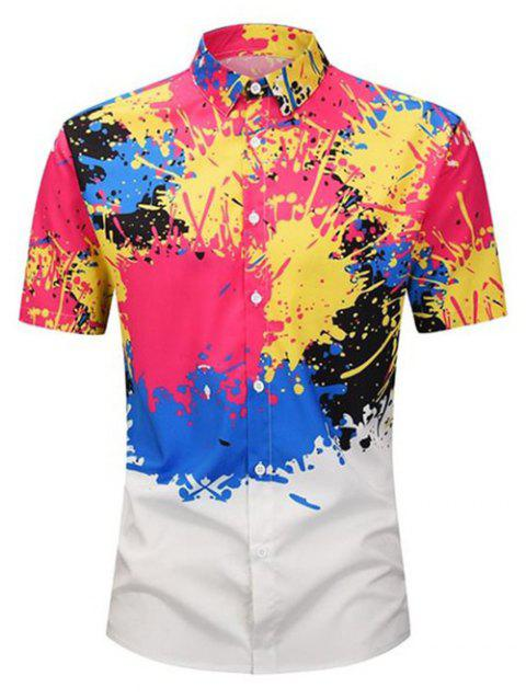 Splatter Painting Short Sleeves Shirt - WHITE XL