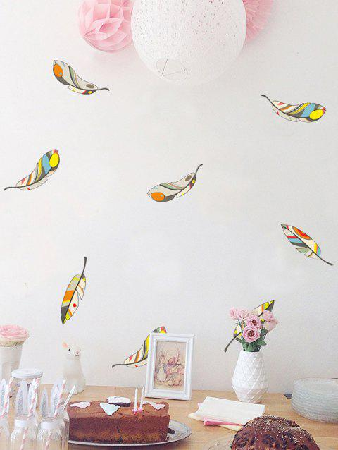 Cartoon Feathers Print Removable Wall Art Stickers - multicolor
