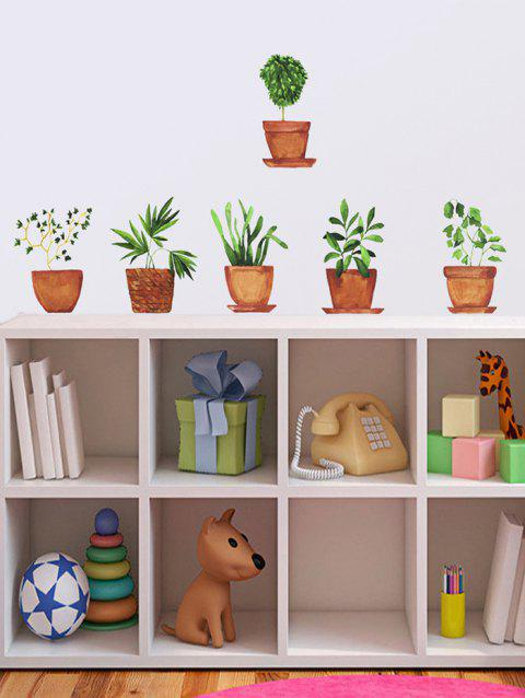 Potted Plants Print Removable Wall Art Stickers - multicolor