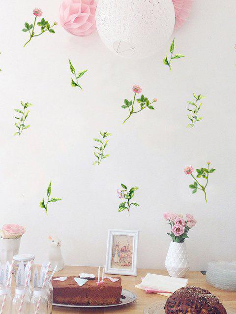 Cartoon Flowers Print Removable Wall Art Stickers - multicolor