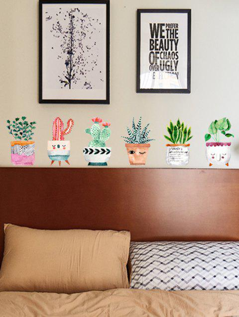 Cartoon Potted Plant Printed Removable Wall Art Stickers - multicolor