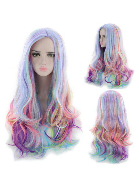 Long Center Part Body Wave Rainbow Synthetic Wig - multicolor A