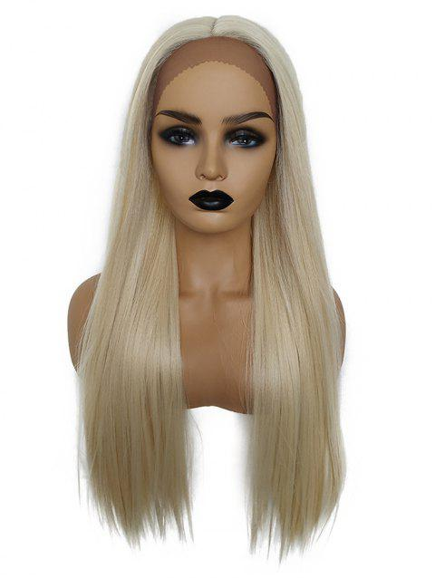 Long Center Part Straight Synthetic Lace Front Wig - SUN YELLOW