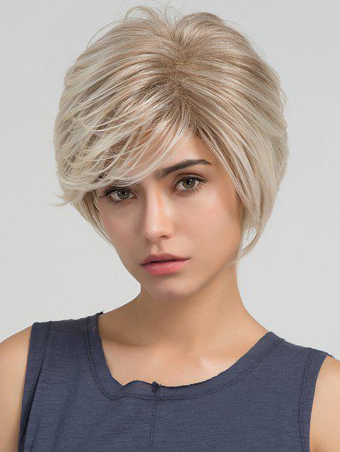 Natural Straight Inclined Bang Short Synthetic Wig - FALL LEAF BROWN