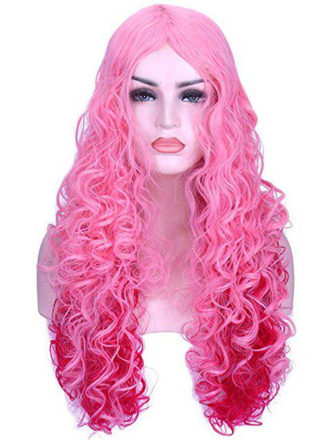 Long Loose Curly Cosplay Center Part Synthetic Wig - HOT PINK