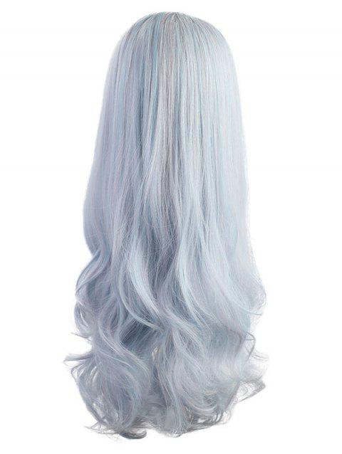 Long Hair-end Curly Cosplay Synthetic Wig - BLUE GRAY