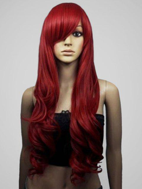 Long Side Bang Body Wave Cosplay Synthetic Wig - RED WINE