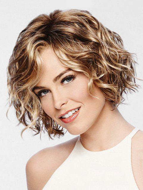 Fluffy Short Wavy Synthetic Side Bang Wig - CHAMPAGNE GOLD