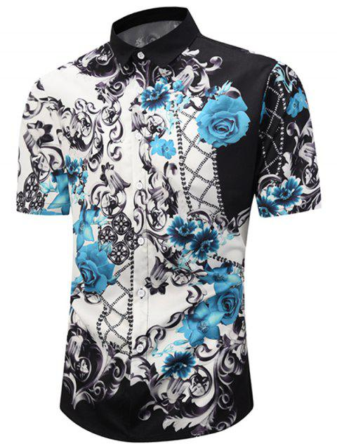 Floral Printed Short Sleeves Leisure Shirt - WHITE M