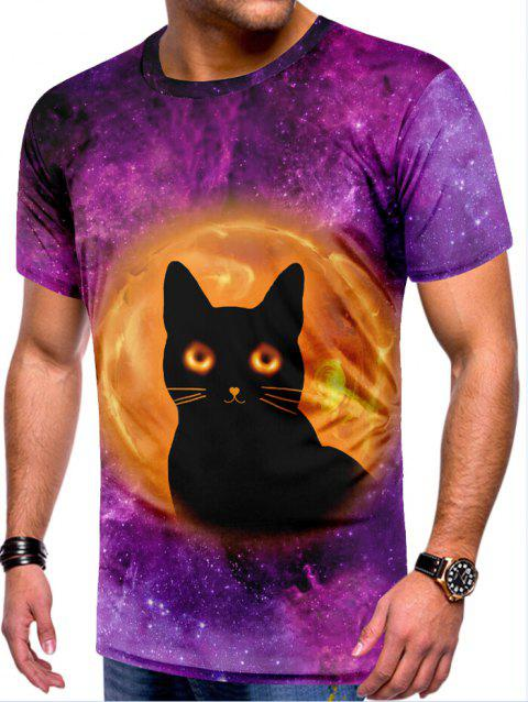T-shirt décontracté à imprimé chats Galaxy - multicolor L