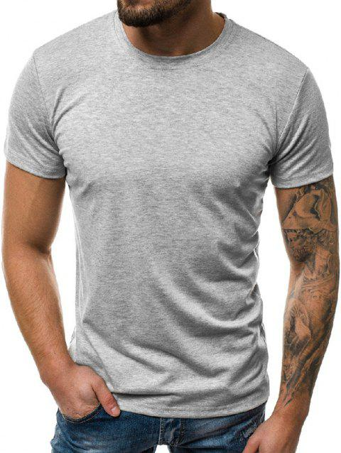 Solid Color Round Neck Leisure T-shirt - GRAY CLOUD 2XL