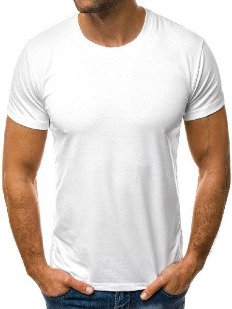 Solid Color Round Neck Leisure T-shirt - WHITE L